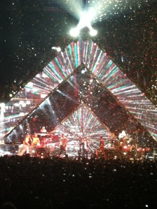 Confetti explosion at the end of the concert. Fun, but sadness ensued since it was over.
